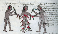 Pic 5: Two priests punish a lazy pupil! Codex Mendoza, fol. 62r (detail)