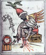 Pic 6: Quetzalcoatl, patron of the Calmecac, performs a self-sacrifice ritual, Florentine Codex