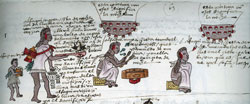 Pic 10: Youth of the Calmecac learn religious rituals (left), sacred music (middle), astrology and astronomy (right). Codex Mendoza, fol. 63r (detail)