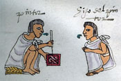 Pic 12: A master 'tlacuilo' paints while a younger student observes. Codex Mendoza fol. 70r (detail)