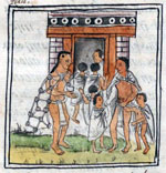 Pic 14: Children are presented by their father to the Telpochcalli. Florentine Codex, appendix to book III