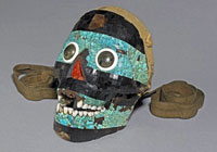 Pic 15: The British Museum's turquoise mosaic human skull, Am St.401, said to represent Tezcatlipoca