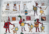 Pic 16: Some of the training undertaken at the Telpochcalli. Codex  Mendoza, fol.64r (detail)