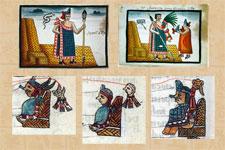 Pic 17: Top row: Itzcoatl and Motecuhzoma I (from Tovar Manuscript; bottom row: Nezahualcoyotl, Nezahualpilli and Cuitlahuac (from Primeros Memoriales)