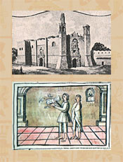 Pic 20: Colegio de la Santa Cruz Tlatelolco (Wikipedia) (top); Aztec singer in training, Florentine Codex Book X (bottom)