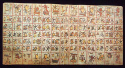 Pic 3: One of the 4 double-page sacred calendar sections of the Codex Cospi, showing 65 days in 5 rows of 13