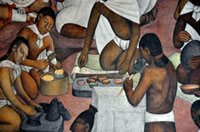 Pic 4: Pre-Hispanic scribes prepare natural colourings... (detail from a mural by Diego Rivera, National Palace)
