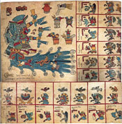 Pic 5: Page 5 of the Codex Borbonicus, thought to be a pre-Hispanic ritual codex. Here, we can see the calendar week of 1 Reed. Children born under this sign were predicted to have bad luck!
