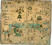 Pic 6: Page 9 of the (colonial period) Codex Xolotl; figures are joined together by lines which place them in a family tree. This makes their relationships and family ties easy to see