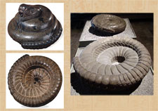 Pic 5: Coiled serpent, British Museum © Trustees of the British Museum (L top and bottom); undersides of coiled serpents, Museo Nacional de Antropología, Mexico (R)