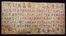 Pic 4: One of the 4 double-page sacred calendar sections of the Codex Cospi, showing 65 days in 5 rows of 13