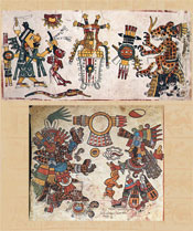 Pic 8: Born in the 'trecena' 1-deer: the shield-and-arrows signs are open to interpretation... Details from Codex Borgia, sheet 63 (top) and Codex Borbonicus, sheet 3 (bottom)