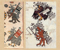 Pic 9: Warriors in eagle and jaguar disguise: Codex Borbonicus, sheet 11, detail (left), Codex Telleriano-Remensis sheet 16r, detail (right)