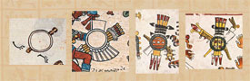 Pic 10: Depictions of shields in the Codex Telleriano-Remensis (far left), Codex Borbonicus (centre left), Codex Borgia (centre and far right)