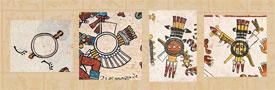 Pic 10: Depictions of shields in the Codex Telleriano-Remensis (far left), Codex Borbonicus (centre left), Codex Borgia (centre and far right)