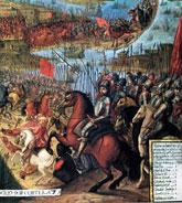 Pic 4: Cortés entering the Aztec capital Tenochtitlan