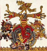Pic 9: Quetzalcóatl (left) nurses a corn plant that symbolises the 'axis mundi' or centre of the world