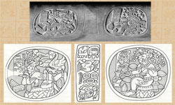 Pic 2: Early Classic period stone Maya bowl (K4331*), Dumbarton Oaks, Washington DC, detail (top); it shows the Maize God as a cacao tree in human form. Drawings by Simon Martin