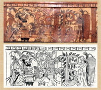 Pic 8: A palace scene in the Underworld: late Classic period Maya polychrome vessel (detail) (K631*). Drawing by Simon Martin