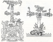 Pic 10: Maize and the World Tree: (L) detail from the lid of Pakal's sarcophagus, late Classic period, Palenque, Mexico. (R) Detail from the Codex Borgia, pl. 53. Drawings by Simon Martin