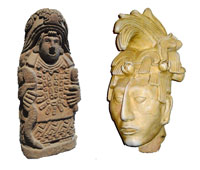 Aztec faces Maya (L: stone figure, National Museum of Anthropology, Mexico City, R: replica of Maya stucco head)