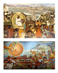 Trading was a vital part of Aztec and Maya life; murals in the National Palace (top) and the National Museum of Anthropology (bottom), Mexico City