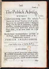 Pic 4: Advert for chocolate (bottom of page) in the Publick Adviser, June 1657