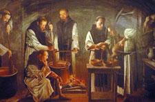 Pic 5: Cistercian monks working on chocolate (Monasterio de Nuestra Señora de Piedra, Nuévalos, Zaragoza, Spain)