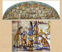 Pic 6: Detail (below) from 'La Chocolatada', Barcelona, 1710, Catalan ceramic tile design, Museu de Ceràmica, Barcelona