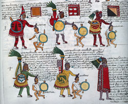 An assortment of high-ranking Aztec warriors; Codex Mendoza fol. 64r (detail)