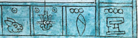 Pic 8: Year dates, from left: One Rabbit, Two Reed, Three Flint, Four House, from Codex Mendoza, fol. 2