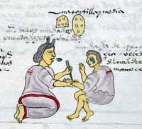 Pic 3: An Aztec mother pierces her daughter's wrist with cactus spines