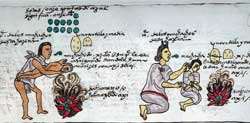 Pic 5: The acrid smoke of chillies burns your eyes! An Aztec mum and dad hold their children over burning hot peppers