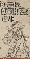 Pic 6: A scene from page 12a of the Dresden Codex; taken from 'Die Maya Handschrift der Königlichen öffentlichen Bibliothek zu Dresden'
