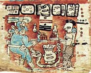 "Pic 9: The caption accompanying this illustration on page 52c of the Madrid Codex reads ""Chaak and Lady Earth are given their cacao"""
