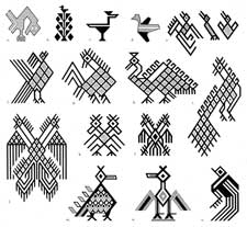 Pic 2: Bird motifs; figs m and n represent birds from the Ixil culture (that includes Nebaj)