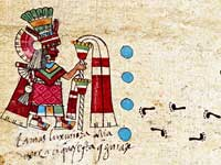 Pic 3: Chicomecoatl with 4 blue dots in front of her suggesting that this [festival in her honour] was celebrated every four years; detail from Codex Borbonicus, fol. 29
