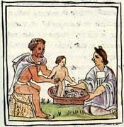 Pic 9: Ritual bathing of an Aztec baby, Florentine Codex Book 4, chapter 19
