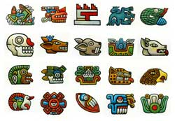 Pic 10: The twenty Aztec day signs, drawn for Mexicolore by Felipe Dávalos