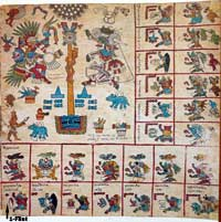 Pic 13: Page 10 of the Codex Borbonicus, showing 1-Flint in the bottom left hand corner