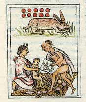 Pic 17: An Aztec astrologer or 'daykeeper' reading his almanac to the mother of a baby born on the day 10-Rabbit