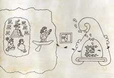Pic 18: The departure of the Mexica tribe from Aztlan, in the year 1-Flint; Codex Boturini