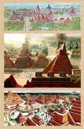 Artists' impressions of ancient Maya cities