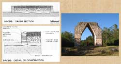 Sacbe construction details; arch at the end of the sacbé, Kabah, Yucatán, photo by Hermann Luyken (Wikipedia)