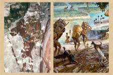 Maya use of the tumpline - mural and artist's reconstruction