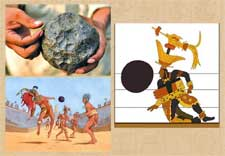 Top left is a Maya rubber ball made by vulcanization