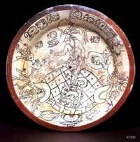 Pic 3: The Maize God emerges from the turtle-shaped earth, flanked by the Hero Twins; 8th century Maya ceramic plate