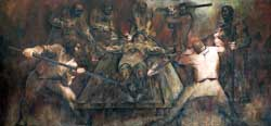 Pic 8: The torture of Jacinto Canek, leader of the Maya rebellion of 1761. Painting by Fernando Castro Pacheco