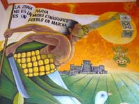 "Pic 9: Fragment of mural painted by Maya artist Marcelo Jimenez – ""The Maya Zone is Not an Ethnographic Museum"""