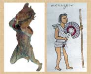 Pic 5: Model of Aztec courier carrying large fish (L); Mexica messenger, Codex Mendoza (R)
